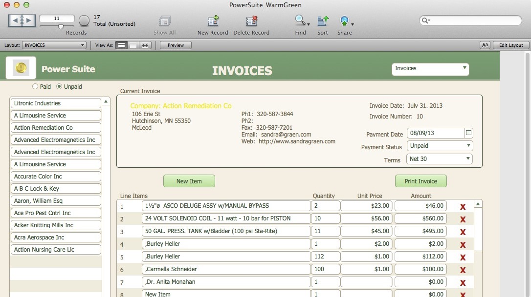 Screenshot of HighPower Data Suite invoices