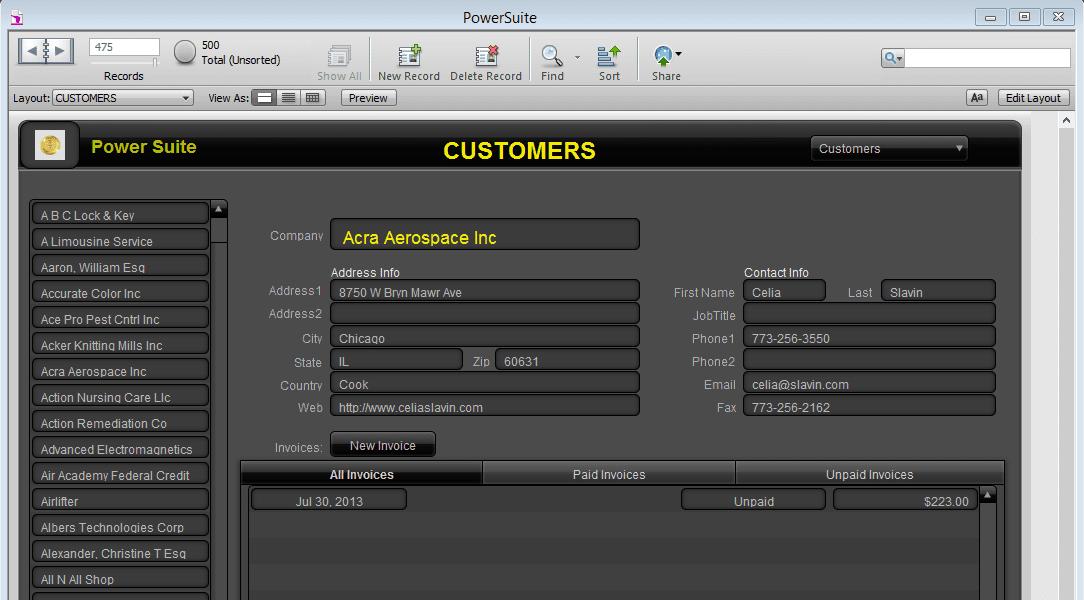 Screenshot of customers tab