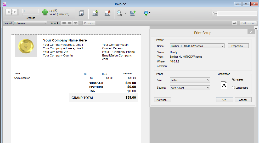 Screenshot of HighPower Data Suite invoice