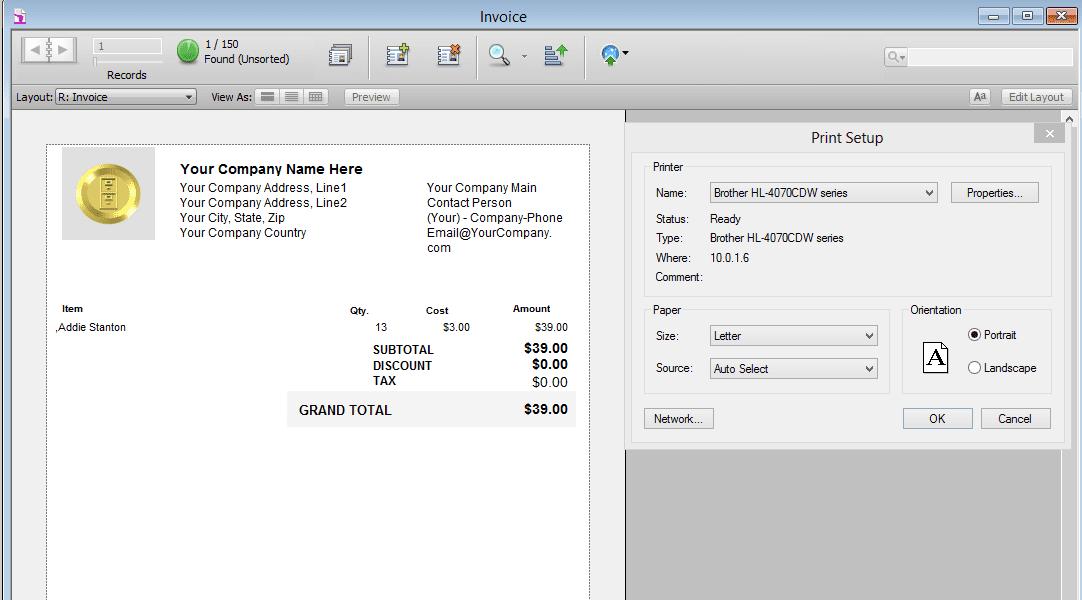 Screenshot of HighPower Data Suite invoice