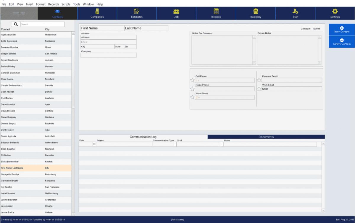PowerStart screenshot of contacts page
