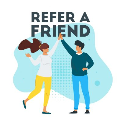 Refer a friend marketing design with man and woman silhouette giving a high five.