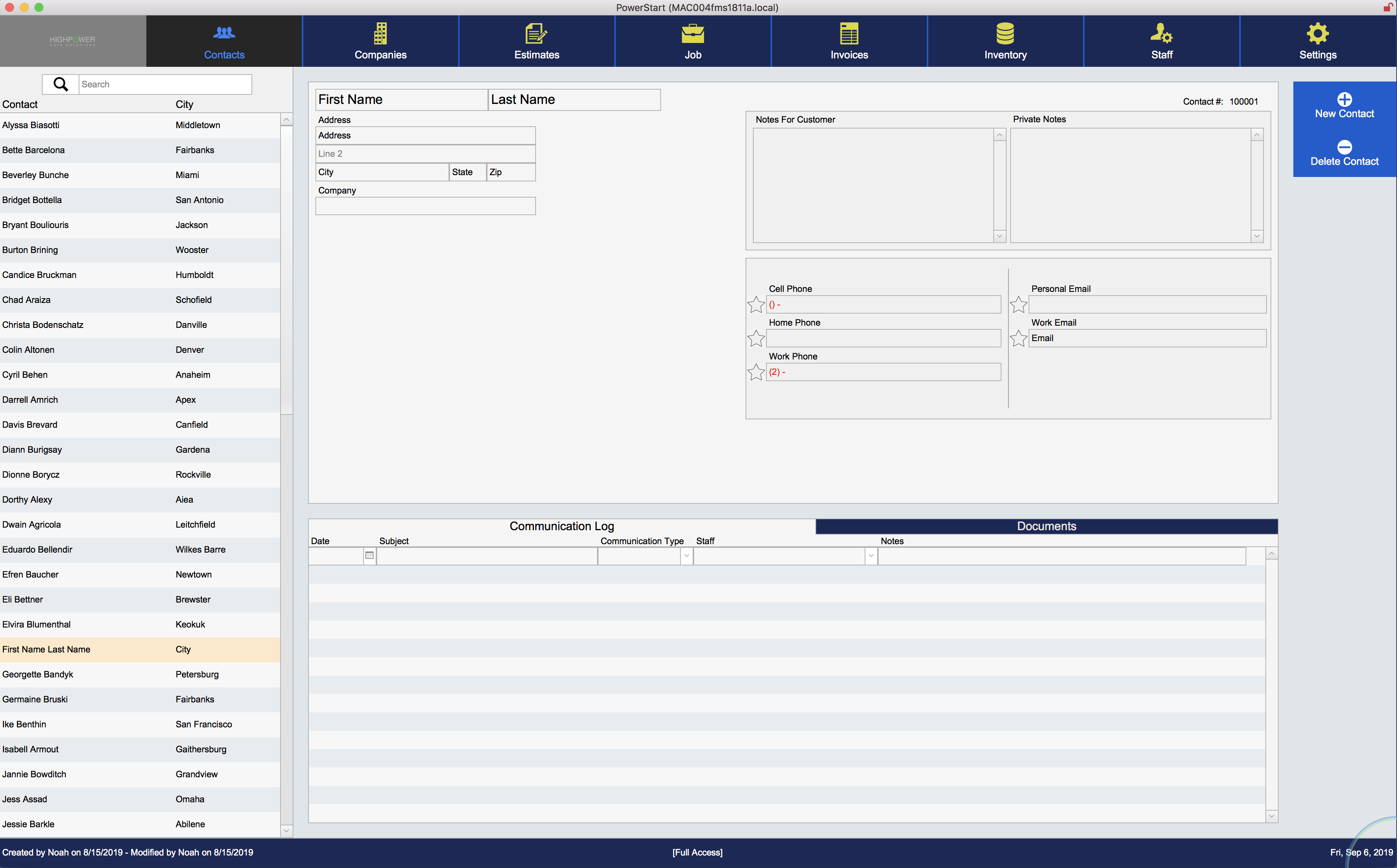 Screenshot of PowerStart software