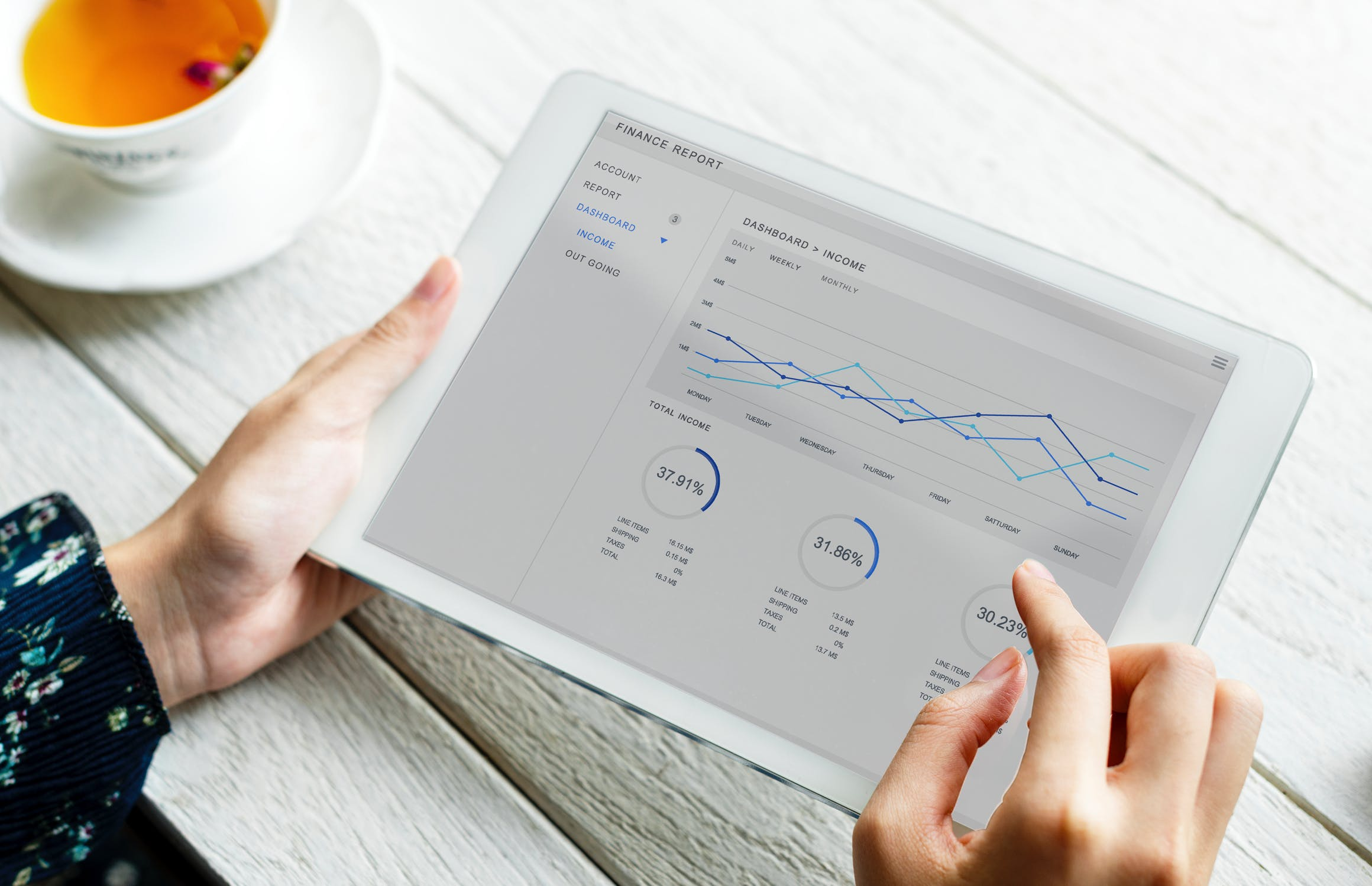 Hands holding iPad with data displayed