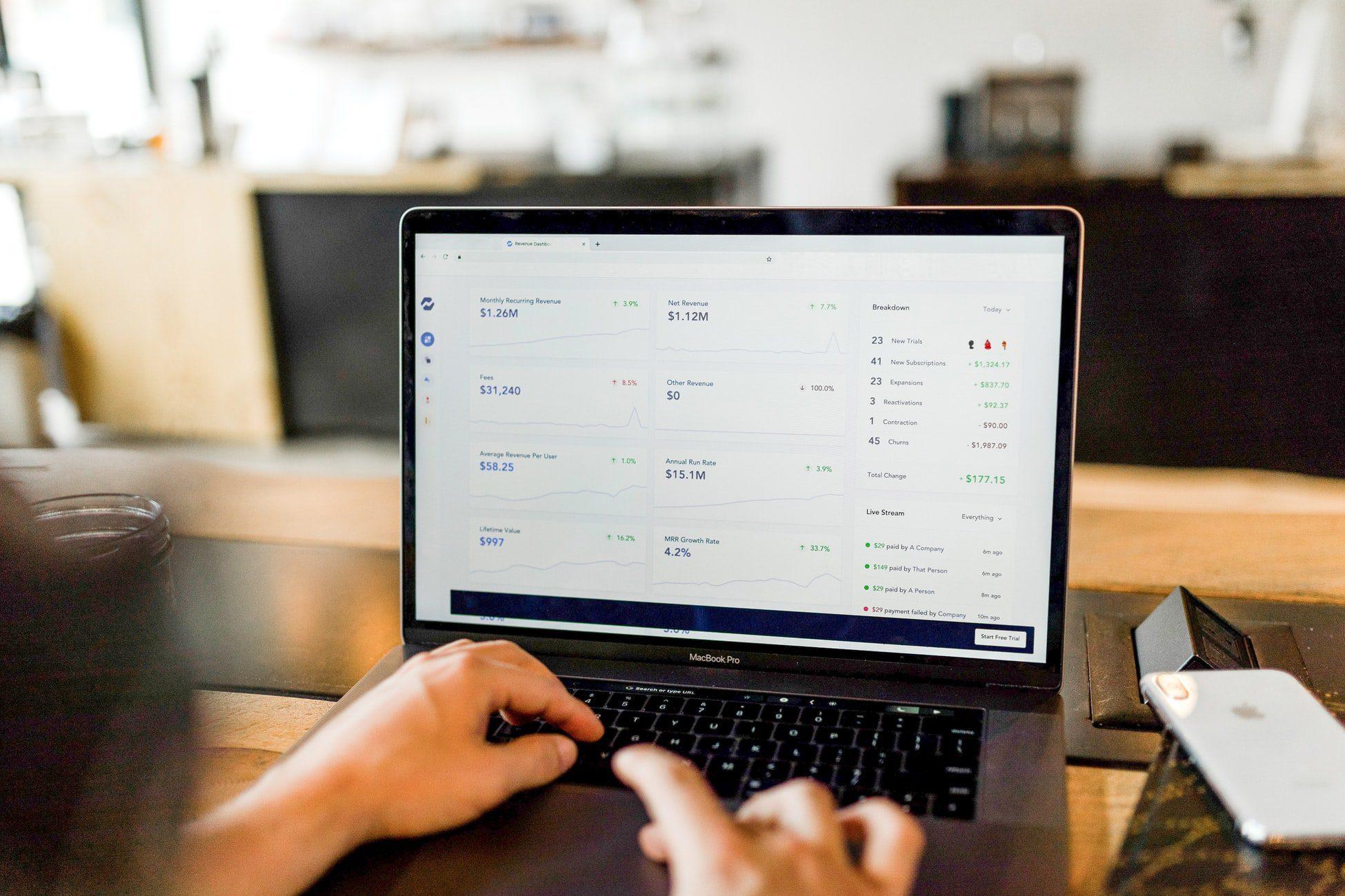 revenue software on laptop