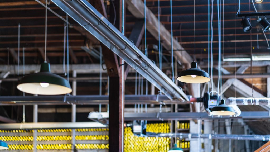 ceiling lamps in a factory