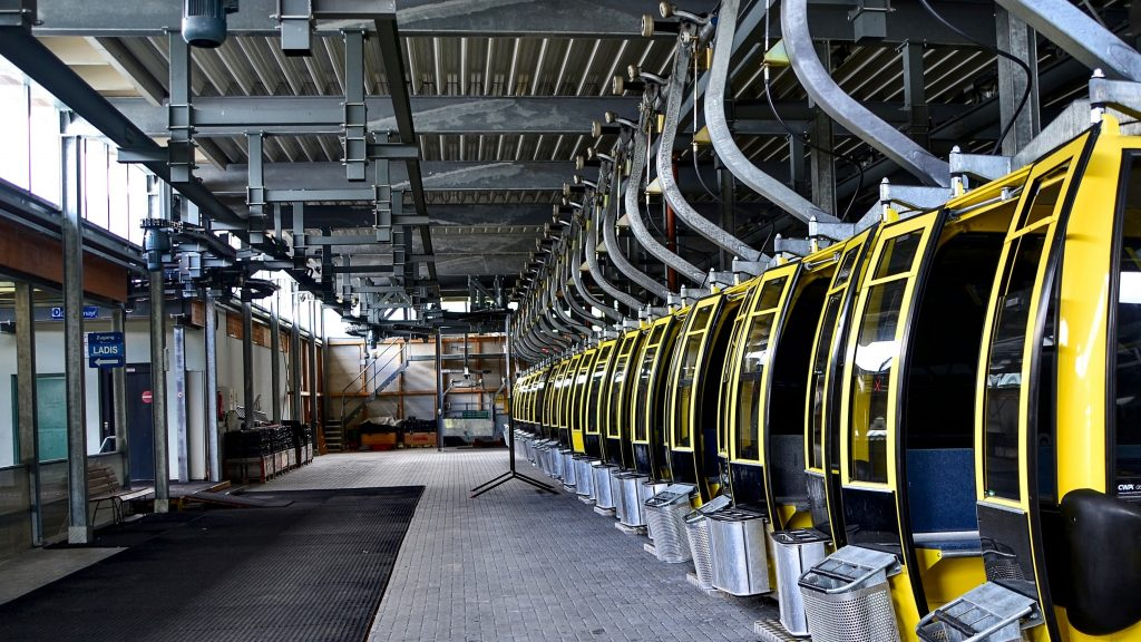 interior of industrial building with row of yellow machines