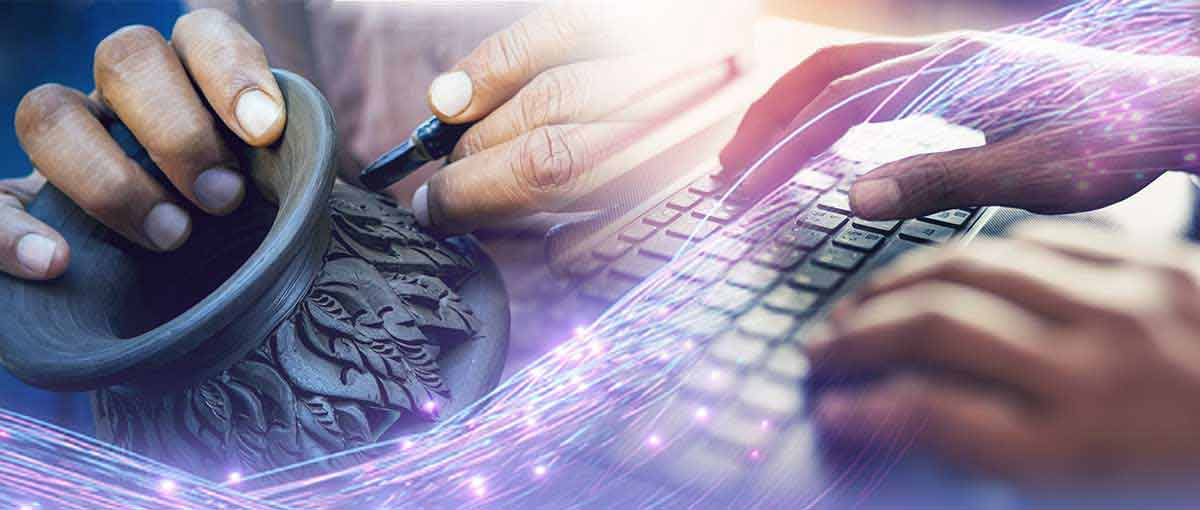 Hand-Crafted Custom Software depicted by artisans sculpting and programmer with hands on the keyboard