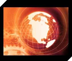 lite up globe in warm glow